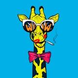 Λαϊκό giraffe τέχνης στα γυαλιά με το κόκκινο καπνίζοντας τσιγάρο τόξων wow OMG απεικόνιση αποθεμάτων