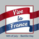Λα Γαλλία Vive Τελειοποιήστε για τη διαφήμιση, την αφίσα ή τη ευχετήρια κάρτα για τη γαλλική εθνική μέρα, στις 14 Ιουλίου, ημέρα  Στοκ Φωτογραφίες