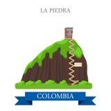 Λα Piedra στα διανυσματικά επίπεδα ορόσημα έλξης της Κολομβίας Στοκ Εικόνες
