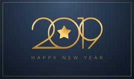 Λείο του 2019 καλής χρονιάς σχέδιο αστεριών ευχετήριων καρτών χρυσό για το Γ ελεύθερη απεικόνιση δικαιώματος