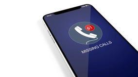 Λειμμένη κλήση, smartphone, spam Ένας μεγάλος αριθμός συνδρομητών κάλεσε 14 διανυσματική απεικόνιση