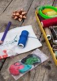 Λειτουργούν seamstress προμηθειών κληρονομιών Στοκ Φωτογραφίες
