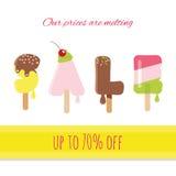 Λειωμένες παγωτό επιστολές πώλησης Στοκ Φωτογραφίες