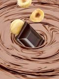 Λειωμένος στρόβιλος σοκολάτας με το φουντούκι ή τα λεπτοκάρυα στοκ φωτογραφία με δικαίωμα ελεύθερης χρήσης