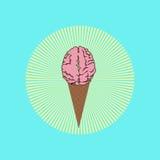 Λειωμένο παγωτό εγκεφάλου μπροστά από την ηλιοφάνεια, η δόξα της ηλιθιότητας διανυσματική απεικόνιση