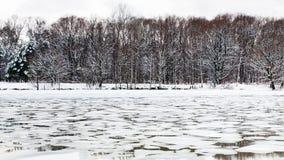 Λειώνοντας επιπλέοντες πάγοι πάγου στην επιφάνεια του ποταμού στο λυκόφως Στοκ Φωτογραφία