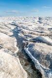 Λειώνοντας πάγος στη τοπ επιφάνεια ενός παγετώνα Στοκ Εικόνες