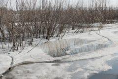 λειώνοντας πάγος τοπίων ποταμών στον ποταμό μιας αντανάκλασης λακκούβας Στοκ Φωτογραφίες