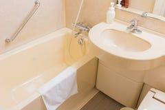 Λεκάνη και μπανιέρα πλυσίματος πολυτέλειας σε ένα λουτρό, ένα εσωτερικό σύγχρονο Στοκ Εικόνες