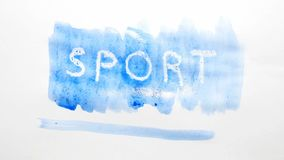 Λεκές χρωμάτων καλλιτεχνών watercolor επιγραφής αθλητικών κειμένων που απομονώνεται στην άσπρη τέχνη υποβάθρου Στοκ φωτογραφία με δικαίωμα ελεύθερης χρήσης