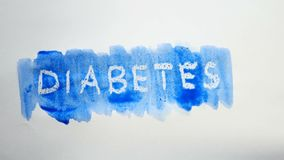 Λεκές χρωμάτων καλλιτεχνών watercolor επιγραφής κειμένων διαβήτη που απομονώνεται στο άσπρο βίντεο τέχνης υποβάθρου Στοκ φωτογραφίες με δικαίωμα ελεύθερης χρήσης
