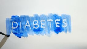 Λεκές χρωμάτων καλλιτεχνών watercolor επιγραφής κειμένων διαβήτη που απομονώνεται στο άσπρο βίντεο τέχνης υποβάθρου Στοκ εικόνες με δικαίωμα ελεύθερης χρήσης
