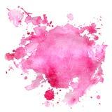 Λεκές Watercolor του ροζ με τους παφλασμούς ελεύθερη απεικόνιση δικαιώματος
