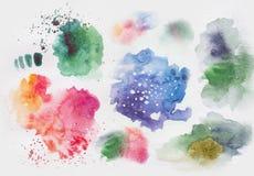 Λεκέδες και παφλασμοί Watercolor Στοκ Εικόνα