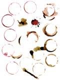 Λεκέδες των κύκλων από το κρασί και τον καφέ σφραγίδα κόκκινος τρύγος ύφους κρίνων απεικόνισης στοκ εικόνες με δικαίωμα ελεύθερης χρήσης