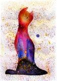 Λεκέδες Watercolor όπως τις γάτες χειροποίητος Στοκ Εικόνες