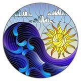 Λεκιασμένα γυαλιού κύματα θάλασσας τοπίων απεικόνισης αφηρημένα στο υπόβαθρο του ηλιόλουστων ουρανού και των σύννεφων, στρογγυλή  διανυσματική απεικόνιση