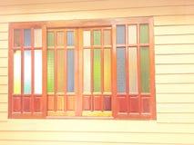 Λεκιασμένα παράθυρα γυαλιού, 4 ξύλινα πλαίσια στοκ εικόνες