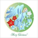 Λεκιασμένα παράθυρα γυαλιού με τον άγγελο Χριστουγέννων Ελεύθερη απεικόνιση δικαιώματος