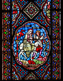 Λεκιασμένα παράθυρα γυαλιού που απεικονίζουν τη Mary, το Joseph και το μωρό Ιησούς Στοκ φωτογραφία με δικαίωμα ελεύθερης χρήσης