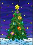 Λεκιασμένη απεικόνιση γυαλιού για το νέο έτος, διακοσμημένο χριστουγεννιάτικο δέντρο με τις διακοσμήσεις σε ένα υπόβαθρο του χιον Στοκ φωτογραφία με δικαίωμα ελεύθερης χρήσης