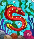 Λεκιασμένη απεικόνιση γυαλιού με τα αφηρημένα ζωηρόχρωμα εξωτικά κόκκινα ψάρια ανάμεσα στο φύκι, το κοράλλι και τα κοχύλια ελεύθερη απεικόνιση δικαιώματος