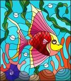 Λεκιασμένη απεικόνιση γυαλιού με τα αφηρημένα ζωηρόχρωμα εξωτικά ψάρια ανάμεσα στο φύκι, το κοράλλι και τα κοχύλια διανυσματική απεικόνιση