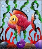 Λεκιασμένη απεικόνιση γυαλιού με τα αφηρημένα ζωηρόχρωμα εξωτικά ψάρια ανάμεσα στο φύκι, το κοράλλι και τα κοχύλια ελεύθερη απεικόνιση δικαιώματος