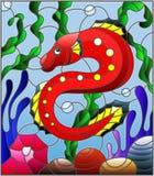 Λεκιασμένη απεικόνιση γυαλιού με τα αφηρημένα ζωηρόχρωμα εξωτικά κόκκινα ψάρια ανάμεσα στο φύκι, το κοράλλι και τα κοχύλια διανυσματική απεικόνιση