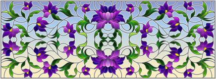 Λεκιασμένη απεικόνιση γυαλιού με τα αφηρημένα πορφυρά λουλούδια σε ένα υπόβαθρο ουρανού, οριζόντιος προσανατολισμός ελεύθερη απεικόνιση δικαιώματος