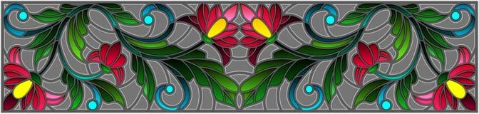 Λεκιασμένη απεικόνιση γυαλιού με τα αφηρημένα ρόδινα λουλούδια σε ένα γκρίζο υπόβαθρο Στοκ εικόνα με δικαίωμα ελεύθερης χρήσης