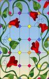 Λεκιασμένη απεικόνιση γυαλιού με τα κόκκινα συνδυασμένα λουλούδια και τα φύλλα στο υπόβαθρο παραθύρων και ουρανού διανυσματική απεικόνιση