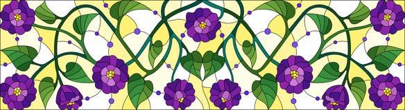 Λεκιασμένη απεικόνιση γυαλιού με τα συνδυασμένα πορφυρά λουλούδια και τα φύλλα στο κίτρινο υπόβαθρο, οριζόντιος προσανατολισμός ελεύθερη απεικόνιση δικαιώματος