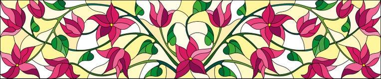 Λεκιασμένη απεικόνιση γυαλιού με τα συνδυασμένα ρόδινα λουλούδια και τα φύλλα στο κίτρινο υπόβαθρο, οριζόντιος προσανατολισμός ελεύθερη απεικόνιση δικαιώματος