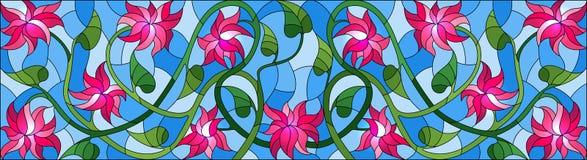 Λεκιασμένη απεικόνιση γυαλιού με τα συνδυασμένα ρόδινα λουλούδια και τα φύλλα στο μπλε υπόβαθρο, οριζόντιος προσανατολισμός ελεύθερη απεικόνιση δικαιώματος