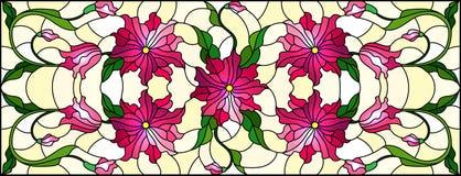 Λεκιασμένη απεικόνιση γυαλιού με τα συνδυασμένα ρόδινα λουλούδια και τα φύλλα στο κίτρινο υπόβαθρο, οριζόντιος προσανατολισμός διανυσματική απεικόνιση