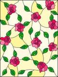 Λεκιασμένη απεικόνιση γυαλιού με τα συνδυασμένα ρόδινα τριαντάφυλλα και τα φύλλα σε ένα κίτρινο υπόβαθρο ελεύθερη απεικόνιση δικαιώματος