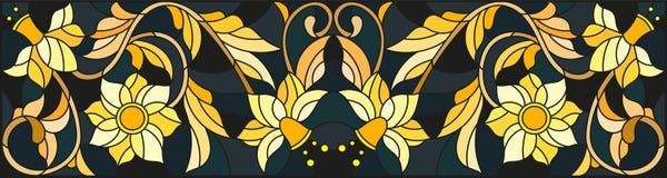 Λεκιασμένη απεικόνιση γυαλιού με τη floral διακόσμηση, μίμησης χρυσός στο σκοτεινό υπόβαθρο με τους στροβίλους και τα floral μοτί Στοκ Φωτογραφία