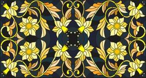Λεκιασμένη απεικόνιση γυαλιού με τη floral διακόσμηση, μίμησης χρυσός στο σκοτεινό υπόβαθρο με τους στροβίλους και τα floral μοτί Στοκ φωτογραφία με δικαίωμα ελεύθερης χρήσης