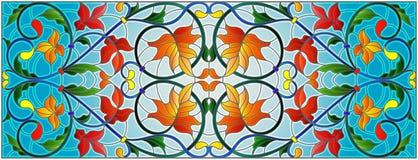 Λεκιασμένη απεικόνιση γυαλιού με τους αφηρημένους στροβίλους και φύλλα σφενδάμου σε ένα υπόβαθρο ουρανού, οριζόντιος προσανατολισ διανυσματική απεικόνιση