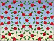 Λεκιασμένη απεικόνιση γυαλιού με το αφηρημένο floral υπόβαθρο, τα κόκκινα συνδυασμένα τριαντάφυλλα και τα φύλλα στο υπόβαθρο ουρα διανυσματική απεικόνιση