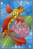 Λεκιασμένη απεικόνιση γυαλιού με ένα goldfish και ένα λουλούδι Στοκ φωτογραφίες με δικαίωμα ελεύθερης χρήσης