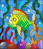 Λεκιασμένη απεικόνιση γυαλιού με τα αφηρημένα ζωηρόχρωμα εξωτικά ψάρια ανάμεσα στο φύκι, το κοράλλι και τα κοχύλια Στοκ φωτογραφίες με δικαίωμα ελεύθερης χρήσης