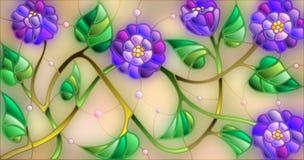 Λεκιασμένη απεικόνιση γυαλιού με τα αφηρημένα μπλε λουλούδια σε ένα μπεζ υπόβαθρο απεικόνιση αποθεμάτων