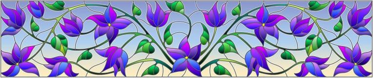 Λεκιασμένη απεικόνιση γυαλιού με τα αφηρημένα μπλε λουλούδια σε ένα υπόβαθρο ουρανού, οριζόντιος προσανατολισμός ελεύθερη απεικόνιση δικαιώματος