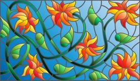 Λεκιασμένη απεικόνιση γυαλιού με τα αφηρημένα πορτοκαλιά λουλούδια σε ένα μπλε υπόβαθρο, οριζόντιος προσανατολισμός διανυσματική απεικόνιση