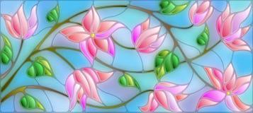 Λεκιασμένη απεικόνιση γυαλιού με τα αφηρημένα ρόδινα λουλούδια στο μπλε υπόβαθρο Στοκ Φωτογραφία