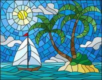 Λεκιασμένη απεικόνιση γυαλιού με seascape, τροπικό νησί με τους φοίνικες και sailboat σε ένα υπόβαθρο του ωκεανού, του ήλιου και  Στοκ φωτογραφίες με δικαίωμα ελεύθερης χρήσης