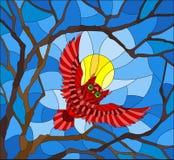 Λεκιασμένη ζωγραφική απεικόνισης γυαλιού με τη μυθική κόκκινη κουκουβάγια στον ουρανό και τον ήλιο ημέρας μέσα - μεταξύ των κλάδω απεικόνιση αποθεμάτων