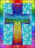 Λεκιασμένη ζωγραφική απεικόνισης γυαλιού στα θρησκευτικά θέματα, λεκιασμένο παράθυρο γυαλιού με μορφή ενός χριστιανικού σταυρού ο Στοκ Φωτογραφίες